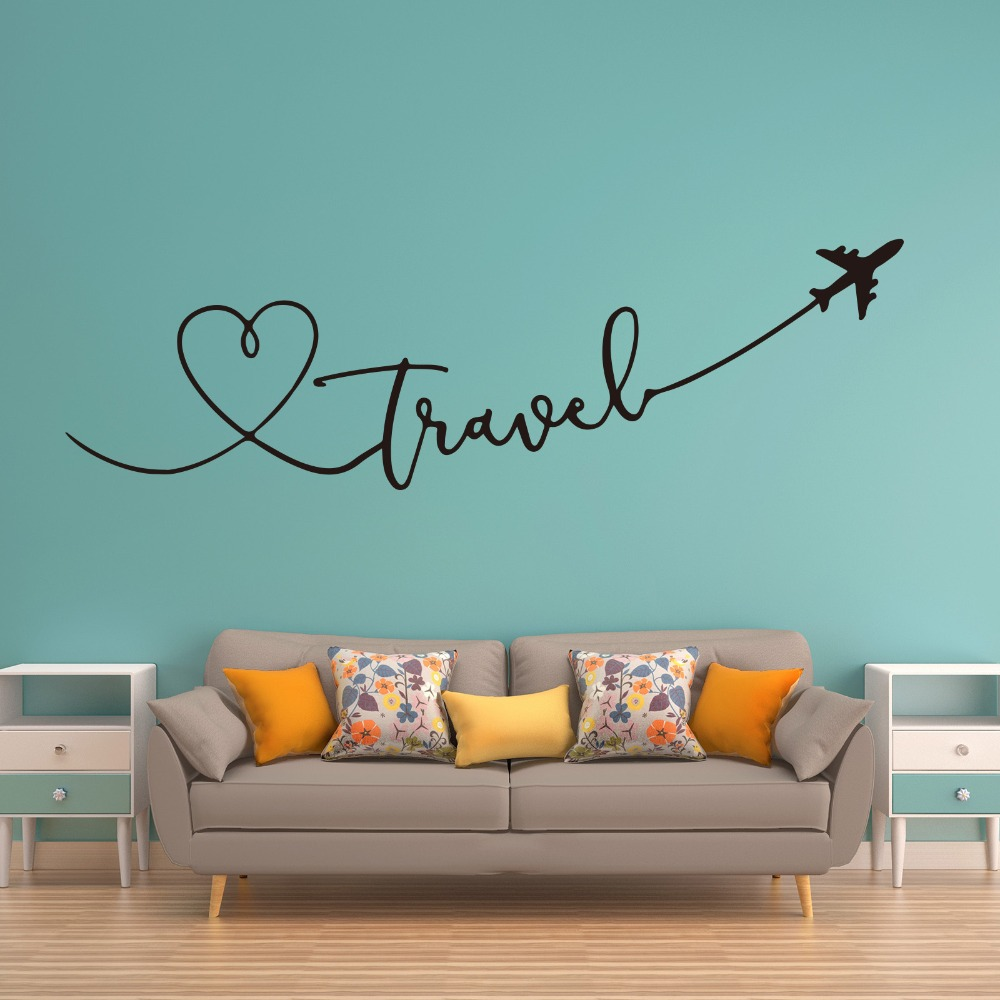 Large Travel Say Quote Airplane Heart Wall Sticker Kids Room Bedroom Travel World Plane Sky Wall Decal Living Room Office Vinyl image
