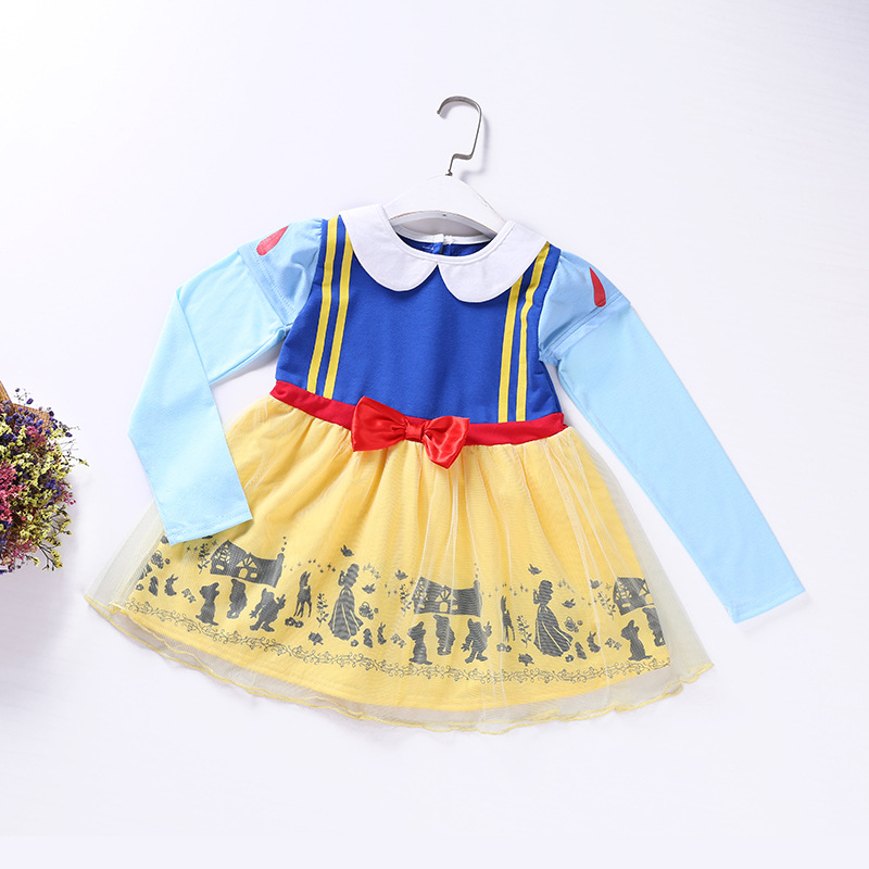 Full Sleeve Girl Snow White Princess Dress Kids Cartoon Pattern Cute Girl Clothes Halloween Costumes Children Long Sleeve Dress