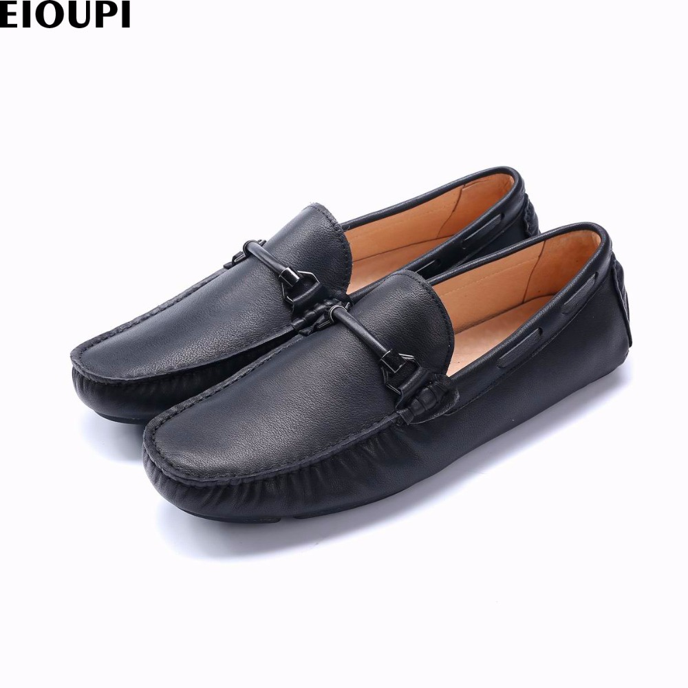 EIOUPI new design genuine real full grain leather mens fashion business casual shoe breathable men boat shoes e37602