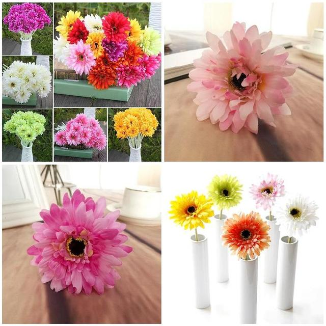 Wedding Party Home Decor 10 Pcs Single Head Silk Artificial Gerbera Daisy Flower Bouquet