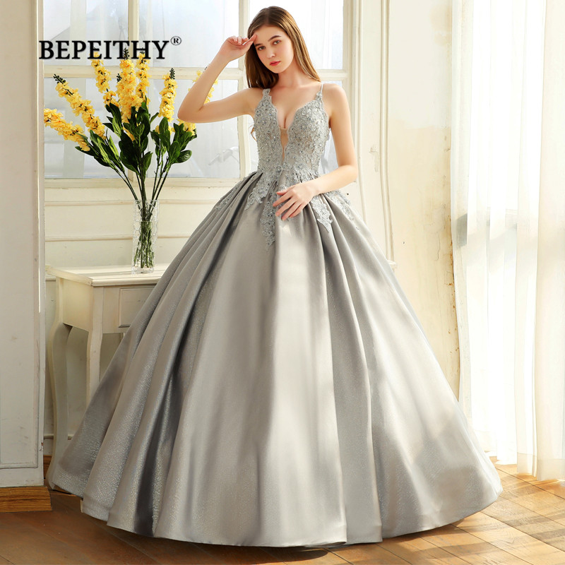 BEPEITHY Robe De Soiree Ball Gown Evening Dress Spaghetti Straps 2019 Lace Bodice Glitter Fabric Abiye