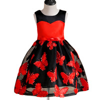 Girls Summer Butterfly Embroidered Lace Dresses Plum Flowers Princess Wedding Birthay Party Tutu Dress Frocks Designs
