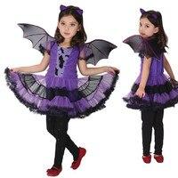 Party Costume Batgirl For Girl Children Dance Costumes For Kids Purple Bat Halloween Clothing Costume Fancy
