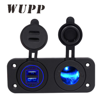 2017 Car Charger Motorcycle Dual Usb Adaptor 12V 24V Cigarette Lighter Socket Blue Led Digital Voltmeter