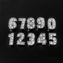 0-9 Full Rhinestones Pendants Slide Numbers Fit For DIY Gift Charm Leather Name Wristband Bracelet Belt Necklace Jewelry(China)