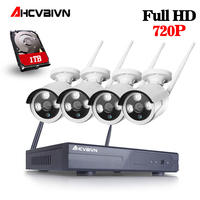 AHCVBIVN 4CH 720P HD Outdoor IR Night Vision Video Surveillance Security 4pcs IP Camera WIFI CCTV