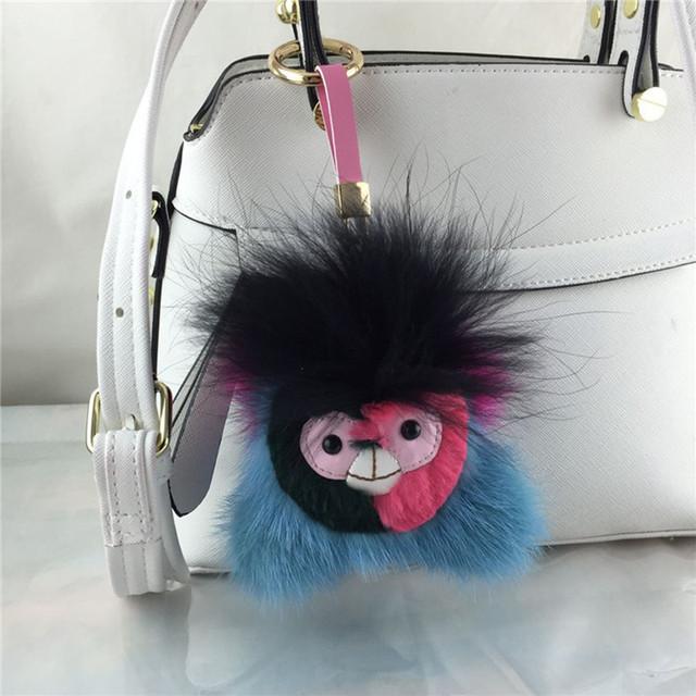 Baratija llavero llaveros en bolsa para el coche de piel de conejo pompón de piel Llavero encantos de pom pom de la piel bolsas de anime