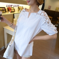 2017 Spring And Summer New Sweet Long Paragraph Lace Hollow Embroidered Shirt Short Sleeved Hook Flowers