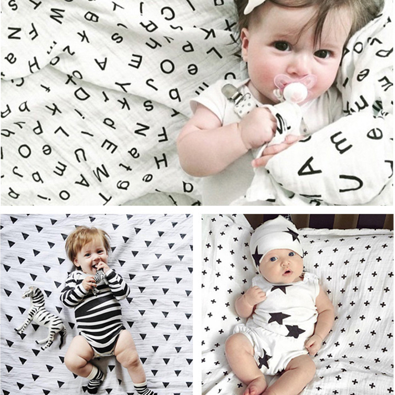 Bath Towels For Baby Newborn Blankets Swaddling Wrap Multifunction Cotton Swaddles Baby Embrace Blanket Black White Gauze