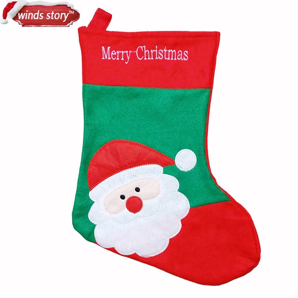 3pcs 귀여운 크리스마스 스타킹 장식 산타 클로스 선물 사탕 가방 실내 크리스마스 장식 자수 양말 룸 크리스마스 트리 스트랩