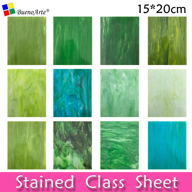 4 Pieces 15X20 CM Art Stained Glass Sheets Opal Series Glass Cathedral glass for DIY Mosaic