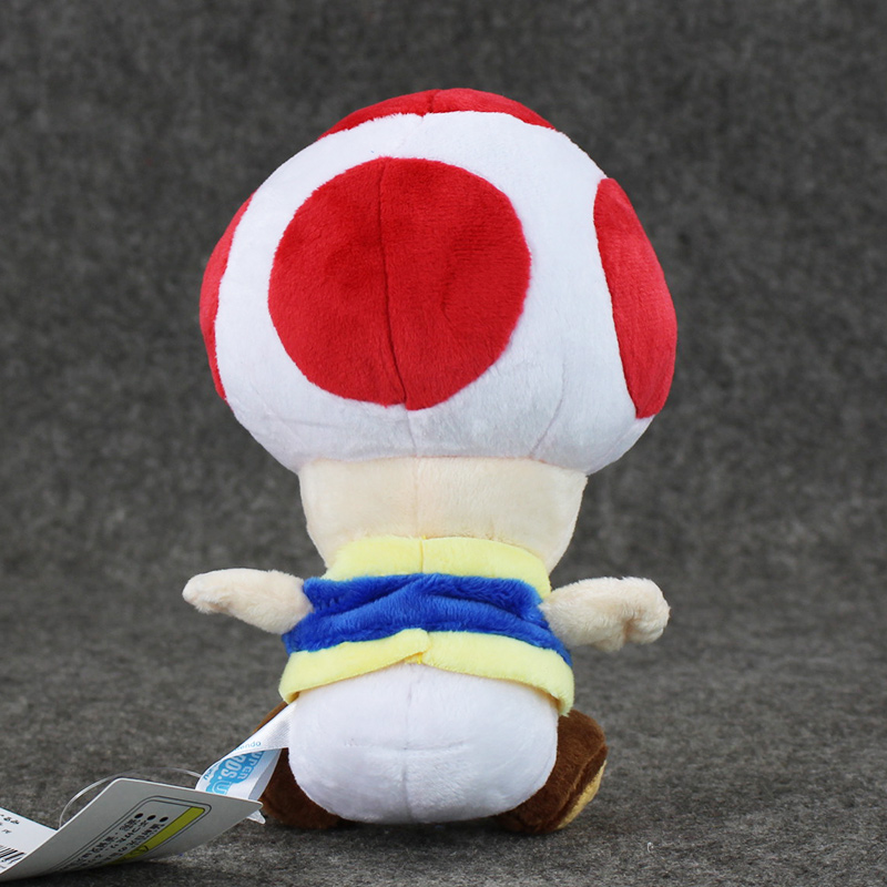 1pcs 7'' 17cmCute Super Mario Bros Plush Toys Mushroom Toad Soft Stuffed Plush Doll with Sucker Baby Toy For Kids 4