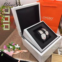 High Grade Bright White Women's Watch Display & Storage Gift Box Leather Holder Protector Detachable Compartment Carrying Casket