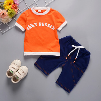 Newborn Orange Blue Clothing Sets For Kids