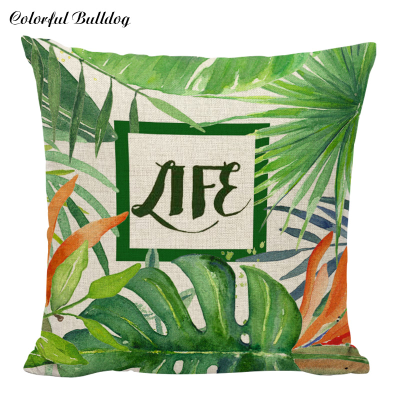 Green and Beige Cotton Linen Pillowcases Plants Cushion Cover Tree Leaves Pattern Chair Waist Seat Pillow Home Garden