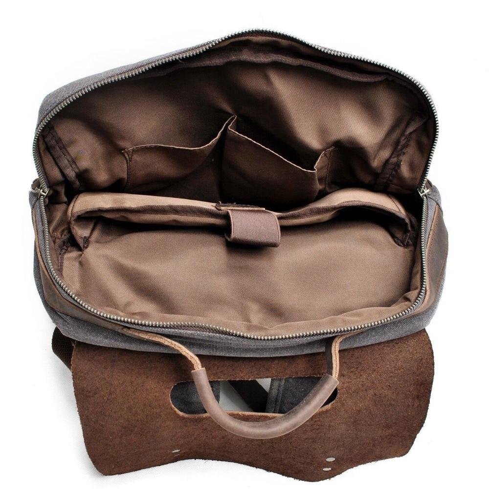 Men Canvas Backpack School Bags Laptop Backpack Male Vintage Military Crazy Horse Leather Shoulder Travel Bag Backpack Schoolbag #5