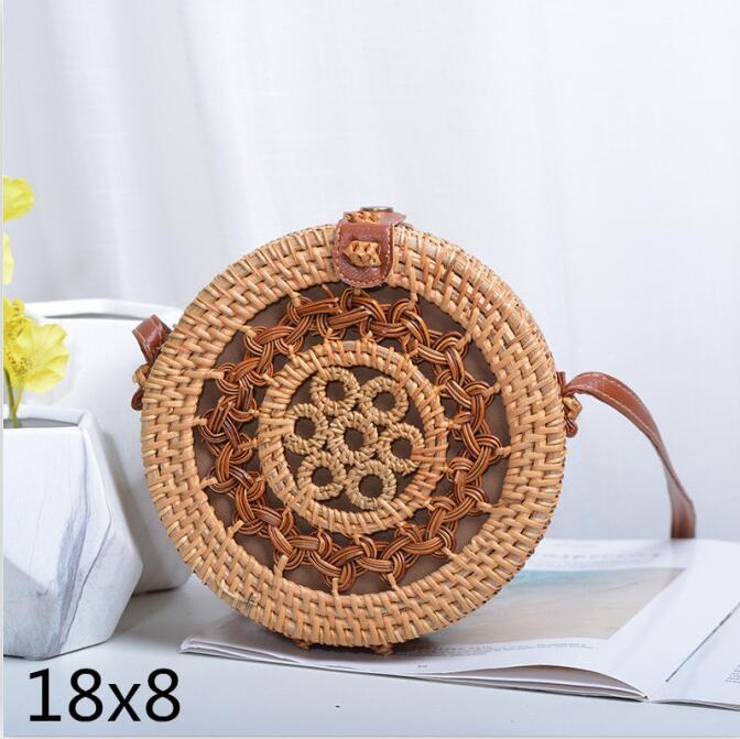Woven Rattan Bag Round Straw Shoulder Bag Small Beach HandBags Women Summer Hollow Handmade Messenger Crossbody Bags 6