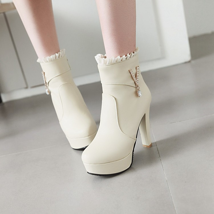 PXELENA Elegant Thin High Heels Ankle Boots Women Ruffles Crystal Fashion Wedding  Boots Bride Shoes White Pink Beige 2018 Newest-in Ankle Boots from Shoes ... c4b8c29c9709