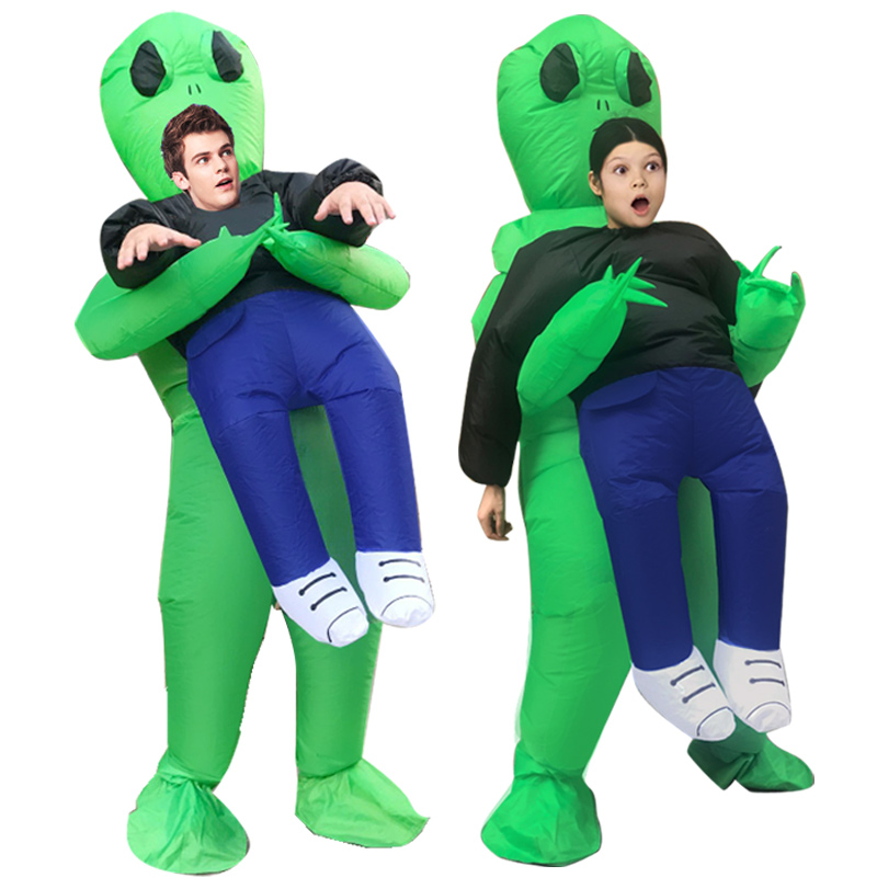 New Inflatable Alien costumes suit Monster Costume Scary Green Alien Mascot Halloween Purim Party Cosplay Costume for Adult