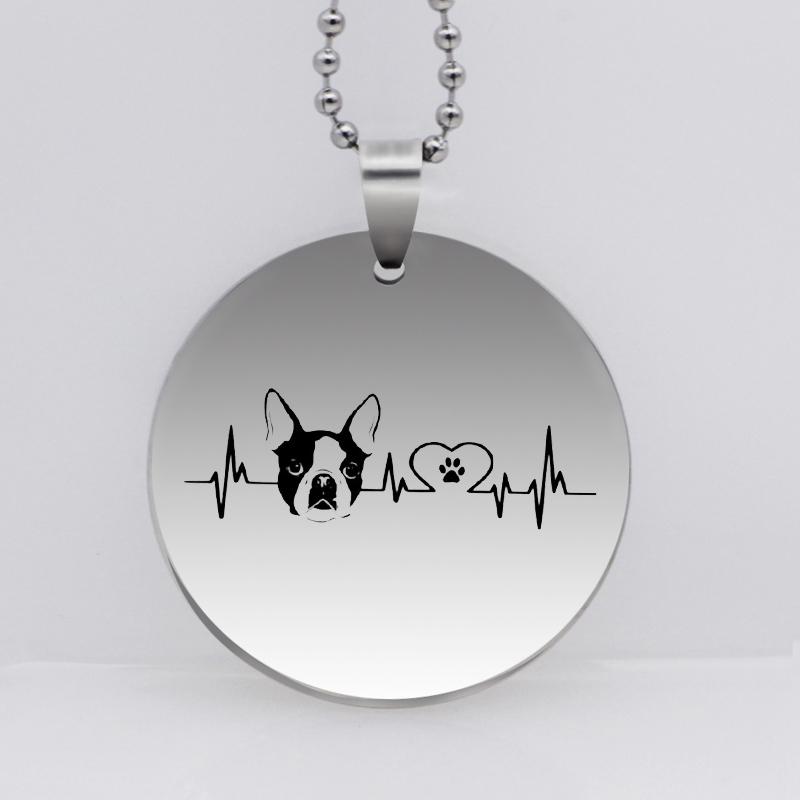 Stainless Steel Personality Heartbeat Paw Print Pendant Necklace Cute Dog Paw Jewelry Gift Drop Shipping YLQ6161