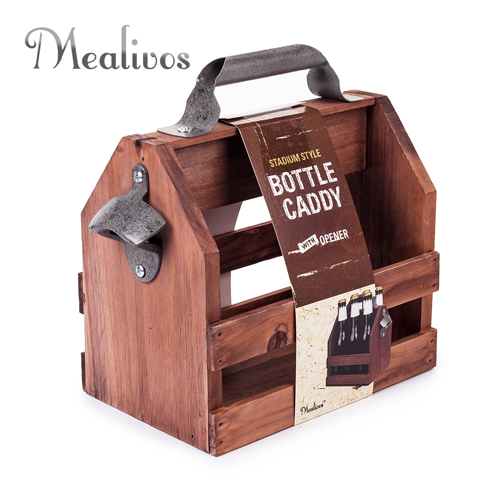 Bar Tool stainless steel beer bottle opener funny wooden Wine baskets Beer Caddy