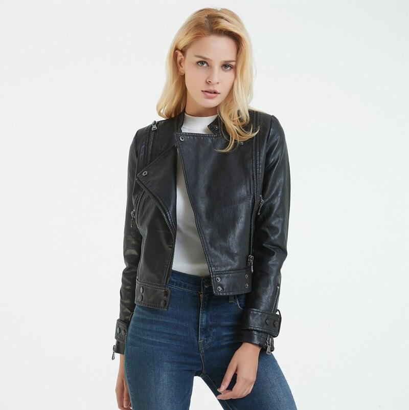 Women Black Moto Biker Jackets Spring Fashion Long Sleeve Short Slim PU Faux   Leather   Motorcycle Jacket Coat Girl Streetwear Hot
