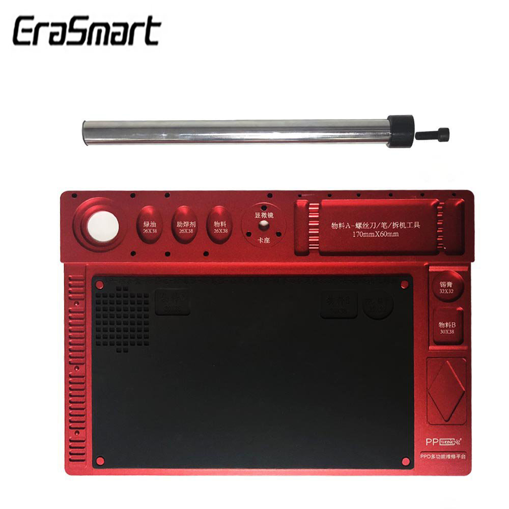 Microscope Fixed Base Integrated Multifuctional Aluminum Alloy Mat Phone PCB Repair Pad With Welding Workbench Rubber MixtureMicroscope Fixed Base Integrated Multifuctional Aluminum Alloy Mat Phone PCB Repair Pad With Welding Workbench Rubber Mixture