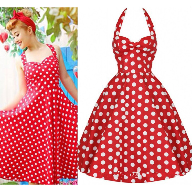 4837ca918b536 Womens Plus Size Clothing Audrey Hepburn 1950s Vintage Rockabilly Halter  Dresses Summer Style Retro Swing Polka Dots Print-in Dresses from Women s  Clothing ...