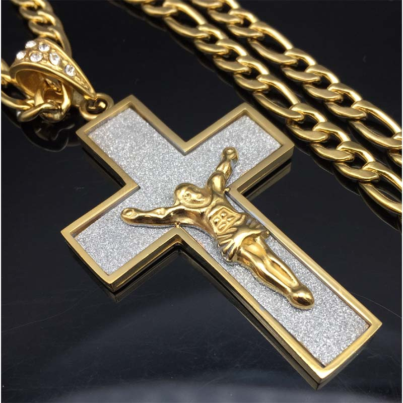 Gold Tone Cross Christ Jesus Pendant Necklace Stainless Steel Link Chain Heavy Men Jewelry Gift