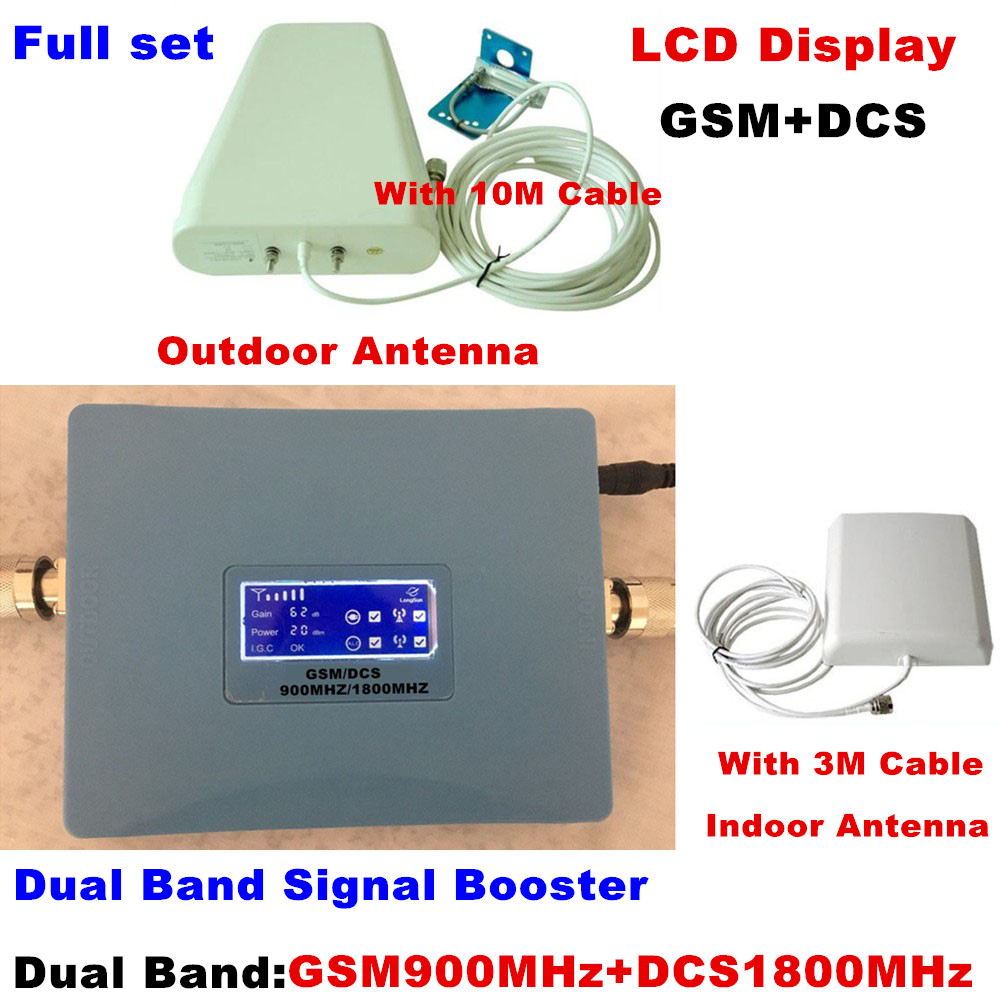 LCD Display Dual band signal amplifier gsm repeater 900 1800 2G 4G GSM DCS mobile signal booster 900mhz/1800mhzLCD Display Dual band signal amplifier gsm repeater 900 1800 2G 4G GSM DCS mobile signal booster 900mhz/1800mhz