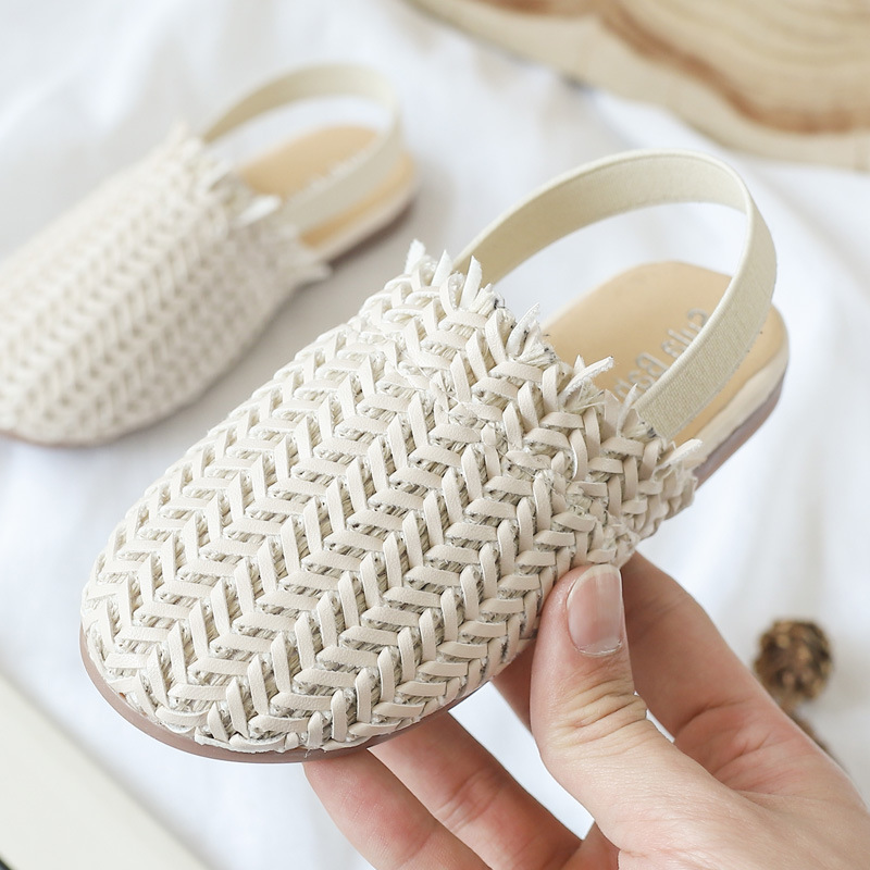 Children's Sandals Girls Shoes 2020summer Fashion Solid Color Woven Flat Beach Sandals Girls Princess Shoes
