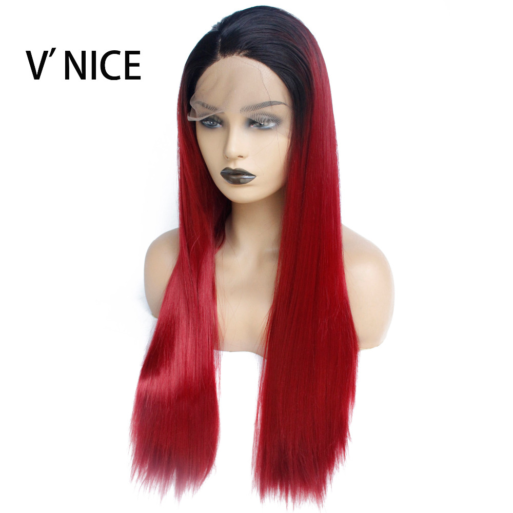 2019 Fashion V'nice Dark Roots Ombre Wine Red Burgundy Straight Glueless Synthetic Front Lace Wig African American Women Heat Resistant Wig Delicious In Taste