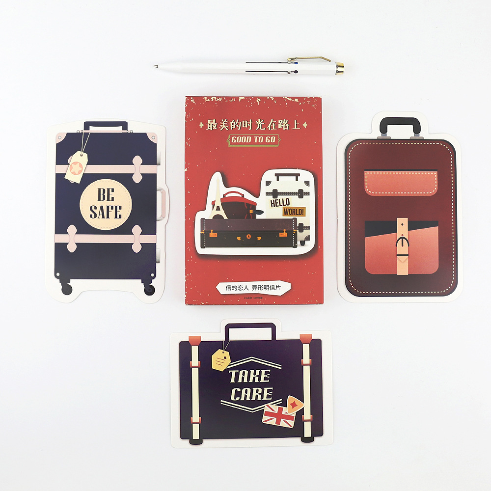30pcs/lot GOOD TO GO Cute Travel Series  Postcard Japanese Cute DIY Suitcase Shape Envelop Gift Card Creative Bookmark Papeleria