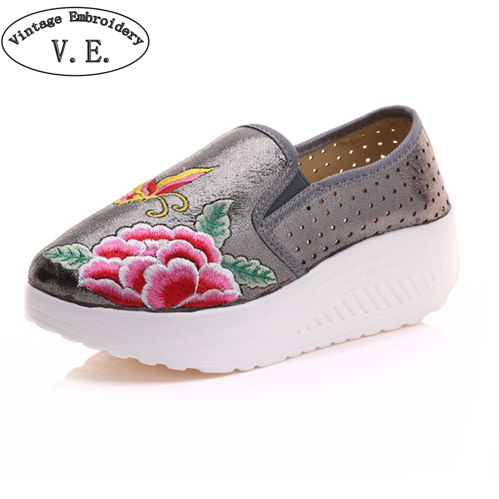 Women Shoes Embroidery Flats Shiny Leather Breathable Butterfly Platform Woman Floral Travel Shoes Woman Zapatos Mujer free shipping candy color women garden shoes breathable women beach shoes hsa21