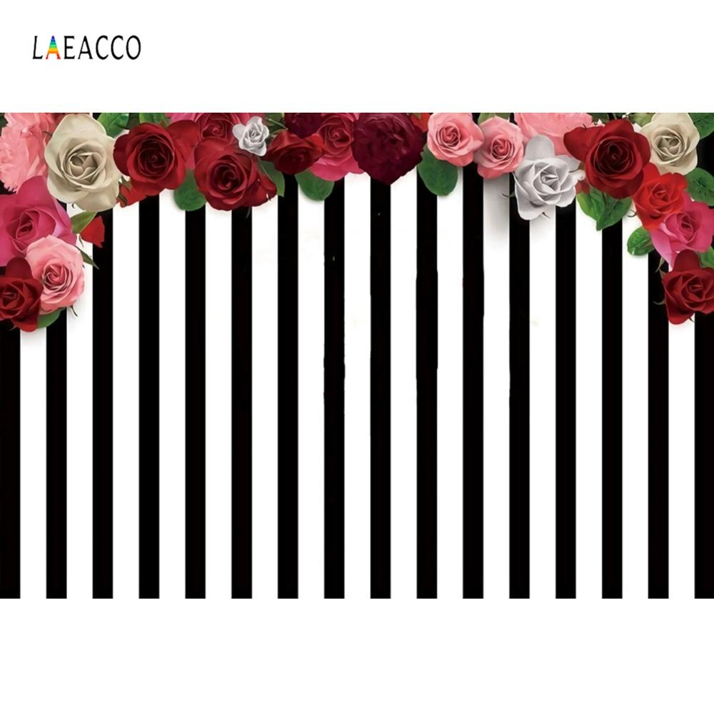 Black White Stripes Backgrounds For Photography Rose Flowers Birthday Party Banner Baby Photo Backdrops Photocall Photo Studio