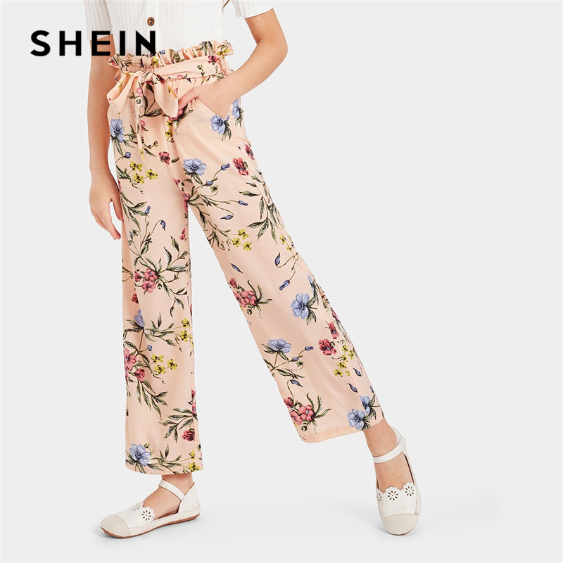 SHEIN Kiddie Pink Floral Print Paperbag Waist Casual Girls Pants With Belt 2019 Summer Wide Leg Trousers Kids Frill Leggings button front wide leg pants