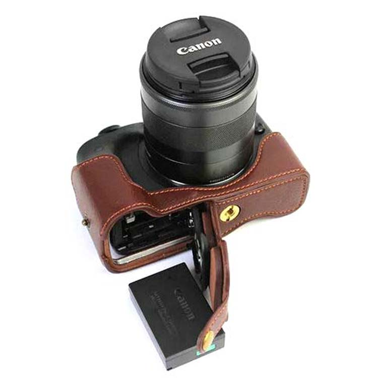 New Genuine Leather Camera Video Bag Half Case bottom cover For Canon EOS M3 EOSM3 Take out battery directly