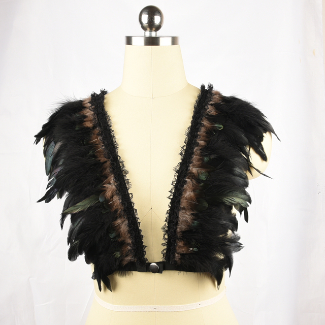 Fetish vampire fantasy couture sexy feathered epaulettes elastic harness feather brassiere rave bra boho festival top O0291