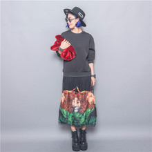 Fashion  tiger applique patchwork gauze loose o-neck pullover one-piece dress female