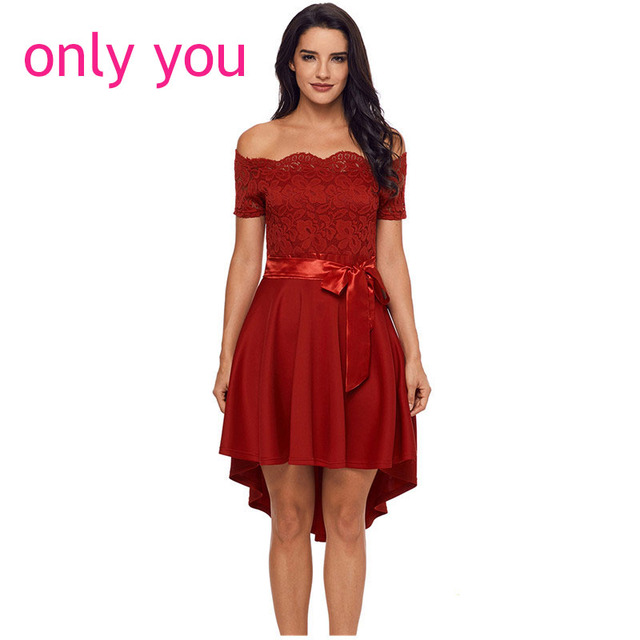 670ce0492a8 ONLY YOU Off Shoulder Dress Summer 2018 Women Sexy Party Vestido Elegant  Red Lace Dip Hem High Low Dress with Bow Belt LC61834