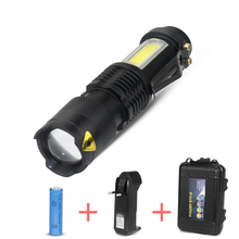 Waterproof Zoom Mini Tacital Led Flashlights Q5 COB Small Pocket Flashlight Torch Portable Work Light for Fishing/Camping/Biking