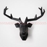 Творческий Европейский Стиль головы оленя, настенные подвесная статуя фигурка животного Скульптура для украшения дома Attic украшения бар 1 ш