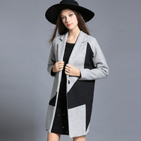 2017 New Arrival Winter Women S Casual Woolen Coat Camel Gray Plus Size Outerwear Patchwork Jacket