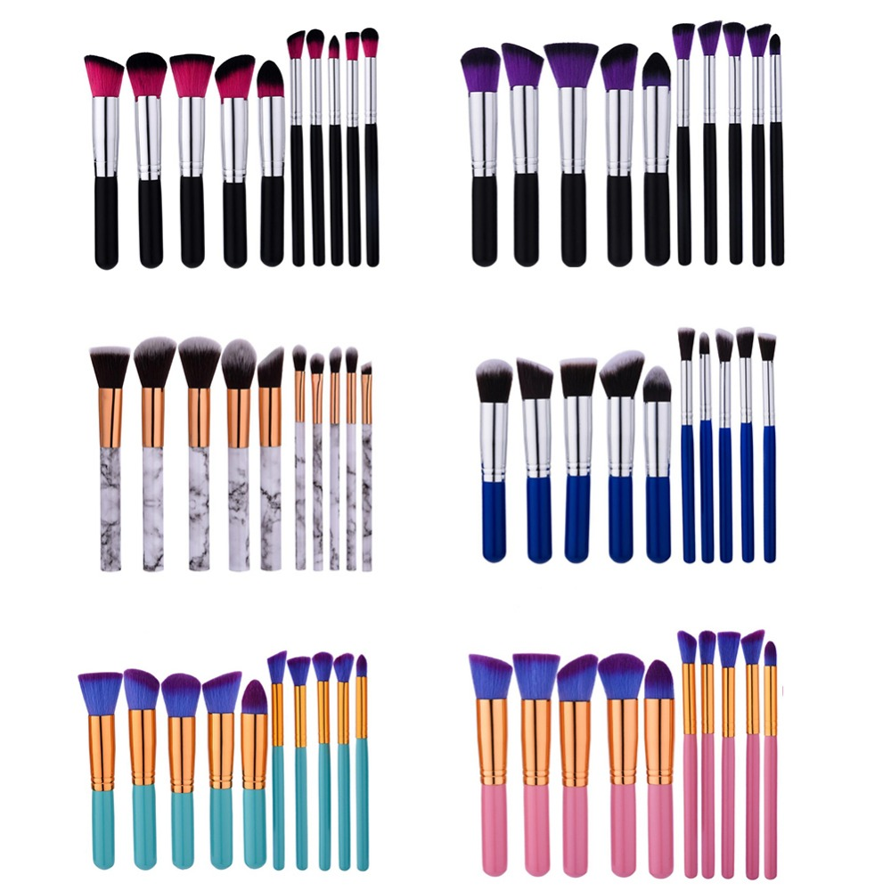 Professional 10Pcs High Quality Synthetic Hair Makeup Brushes Set Foundation Powder Blusher Eyeshadow Cosmetic Tools Kit #245035 casio g shock mudmaster gw 9300dc 1e