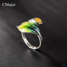 CMajor Sterling-silver-jewelry natural yellow stone green leaf open rings for women for drop shipping customer