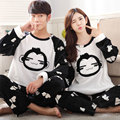 Free shipping Autumn and winter lovers thickening flannel Pajamas plus size sleepwear male cartoon coral fleece lounge set L-4xl