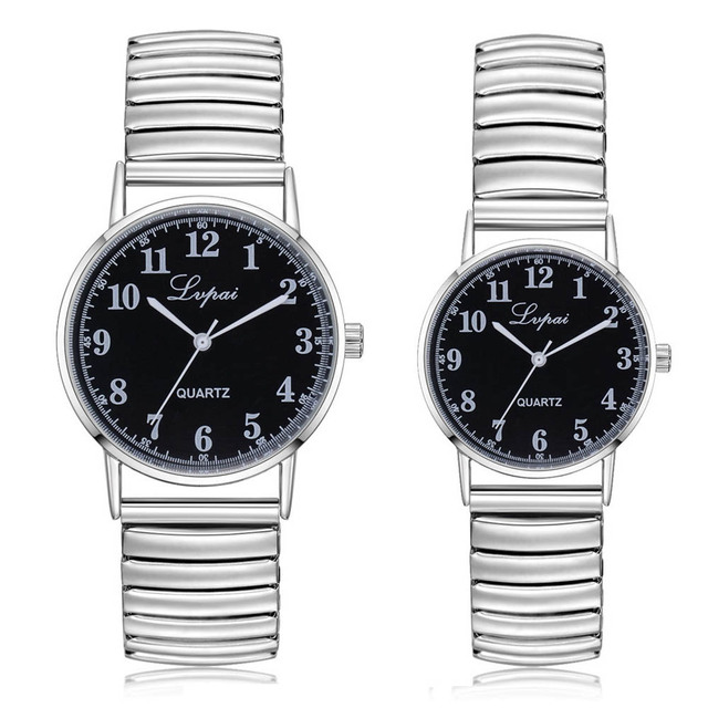 Couple Watches Fashion 2018 Unisex Stainless Steel Quartz Wrist Watch Couple Wat