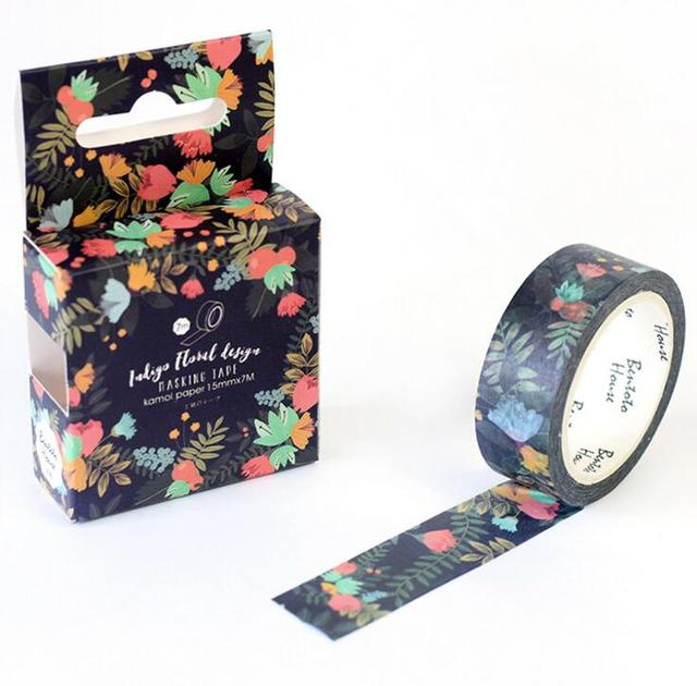 1 caja nueva flor oscuro flores decorativa Washi Tape Scrapbooking cinta adhesiva de la Oficina de la Escuela de alimentación Escolar Papelaria H1623