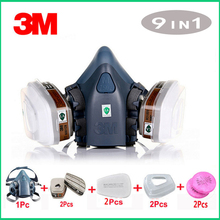 3M 7502 gas mask 9 in 1 spray paint chemical organic gas protection 6001/2091 filter for decoration dust protection