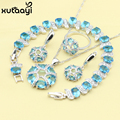 Blue Created Topaz  New Fashion Sterling Silver Overlay Jewelry Sets For Women Graceful Necklace Rings Earring Bracelet